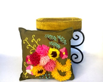 VIntage Retro Colorful Floral Pillow, Hand Stitched,