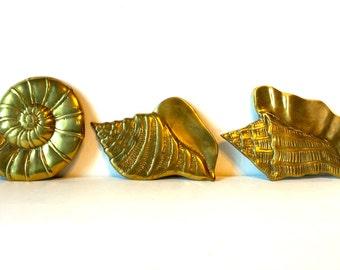 VIntage Set of Three Hanging Brass Shells