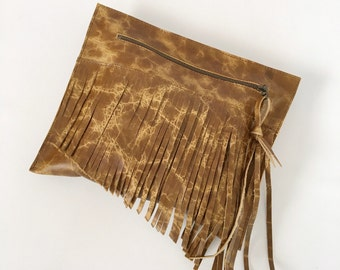 Distressed Golden Brown Bison Leather Clutch / Leather Clutch / Fringe Clutch / Leather Handbag / Fringe Handbag / Fringe Clutch