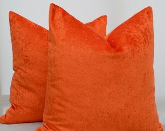 Orange Pillow Cover , Orange Velvet Pillow Cover,Orange Cushion Cover