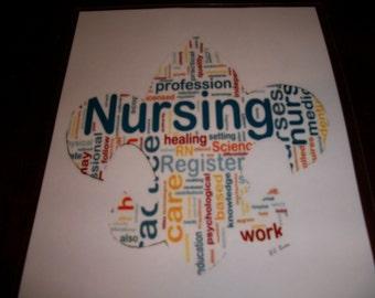 Nursing Word Balloon Fleur De Lis