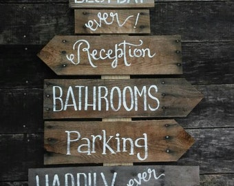 Rustic Wedding Directional Sign Made To Order Anything You Like Painted Custom