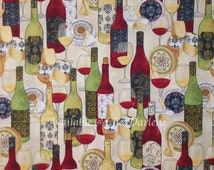 Cotton Fabric - Wine Bottles, Glasses & Cheese Quilt Quality Cloth - By the Half or Full Yard - Yardage
