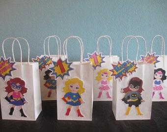 Girl Superhero Favor Bags(10)Girl Superhero Goody bags,Superhero Birthday,Girl superhero party,Girl Superhero Birthday,Superhero Gift Bags