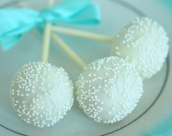 White Cake Pops - Edible Wedding Favor - Communion Favor - Baptism Favor - Baby Shower Favor - Bridal Shower Favor - White Wedding Favor