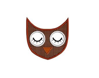 Owl applique design. Owl machine embroidery design. Owl face applique. Geometric owl design. Woodland applique owl design.