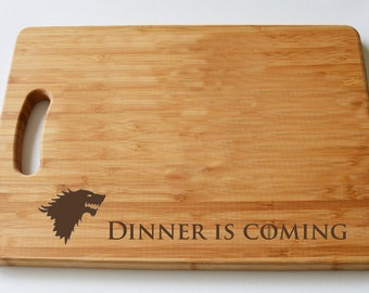 Game Of Thrones Engraved Wood Chopping Board, Dinner is Coming, Cheeseboard, Stark, Game Of Thrones Fans, Birthdays, House Gift, Anniversary
