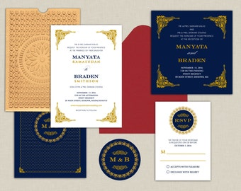 Modern Monogram Collection   White, Gold And Navy   Indian Wedding  Invitations