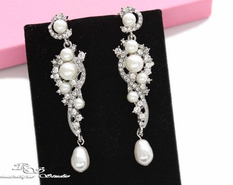 White Pearl bridal earrings, vintage style wedding earrings with crystal and rhinestone, pearl drop earrings, bridal jewelry accessory 1276