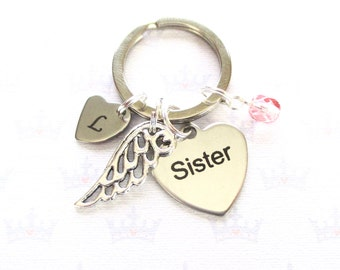 Angel sister - Personalised Angel wing keychain - Sister gift - Angel wing keyring - Sister loss gift - Etsy UK