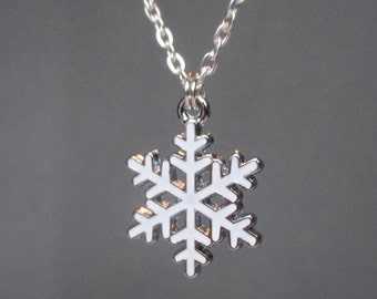 Snowflake necklace - White snowflake pendant - Christmas necklace - Winter Wonderland - Stocking filler - Secret santa - Etsy UK