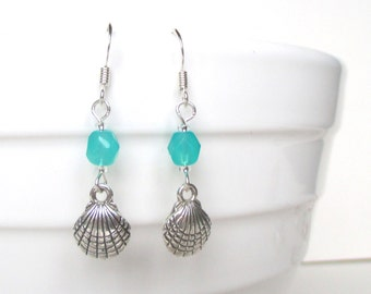 Shell earrings - Beach earrings - Shell jewellery - Beach jewellery - Beach wedding - Clam shell - Cockle shell - Stocking filler - Etsy Uk
