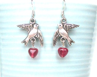 Valentine's Day earrings - Dove earrings with tiny pink hearts - Lovebird jewellery - Valentine gift for her - Sentimental jewellery - UK