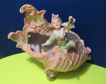 "Vintage Ceramic Porcelain ""ARDAL"" Angel Conch Schell Figurine Vase Collectible Collector Ocupied Japan Boy"