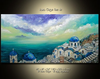 Original Oil Greece Sea Sky Abstract Landscape Painting Contemporary Modern Textured Palette Knife by Lana Guise