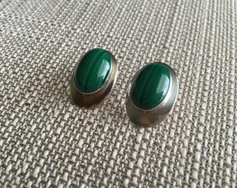 Vintage Navajo Malachite Sterling Oval Earrings