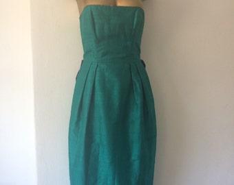 Buddulph & Banham green strapless vintage dress with tartan bustle size UK 8