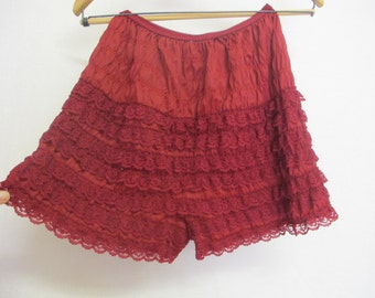 Red Petti Pants Bloomers Ruffle Underpants Lace Underpants Red Panties Rockabilly panties