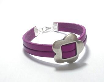 Bracelet strap leather & Pearl bandwidth metal