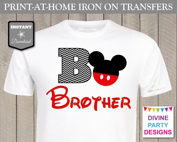 Instant download print at home mouse brother chevron for Free t shirt transfer templates