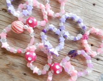 Bright Colors Girls Stretch Bracelets -Birthday Party Favors-Tea Party Favors-Little Girls Bracelets-Childrens Jewelry