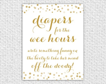 Diapers for the Wee Hours, 8x10, Printable Baby Shower Game, Baby Shower Sign, Baby Shower Printable, Baby Shower Decor, Confetti