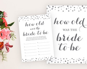 How Old Was the Bride to Be - Bridal Shower Game - Guess the Bride's Age - Bridal Shower Printable - Bridal Shower Decor, Bridal Shower Sign