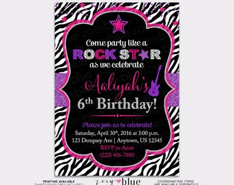 Rockstar Birthday Invitation- Chalkboard Fuchsia Hot Pink Purple Girl Glitter Little Rock Star Party Invite Birthday Zebra - Digital File
