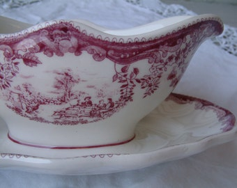 Vintage french ironstone mulberry transferware sauce boat. Gravy boat. Mulberry transferware. French transferware. Raspberry. dark pink