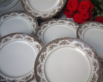 Set of 6 Antique french brown transferware dinner plates. Rose garlands. Antique french transferware. Brown transferware. Roses