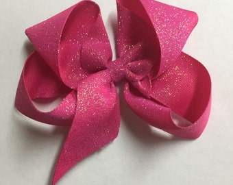 Large Shocking Pink Glitter Hair Bow
