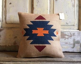 Burlap Pillow| Choose Your Colors | Aztec Tribal Pillow | Boho Decor - Made to Order | Southwestern pillow | Ranch decor