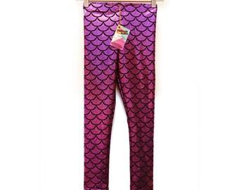 Mermaid Leggings for Kids in Pink, Mermaid Leggings for Kids in Purple