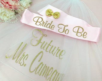 VEIL and SASH, Bachelorette Veil, Personalized Veil, Bride to Be Veil, Bachelorette Party