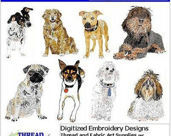 Embroidery Design CD - Dogs(2) - 8 Designs - 9 Formats - Threadart