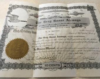 Stocks,Old Stocks,Antique Shares,Grey Goose Airways,Vintage Stock Certificates,Antique Certificates, Shares,Old Shares,Old Grey Goose Stocks