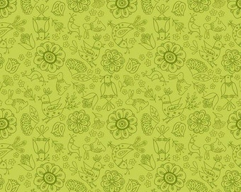Riley Blake Dutch Treat by Betz White C5281 Floral Green - Quilts - Quilting - Dresses - Crafts
