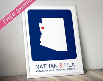 Personalized Wedding Gift : Arizona State Map Print - Wedding Guest Book Poster, Engagement Gift, Custom Map