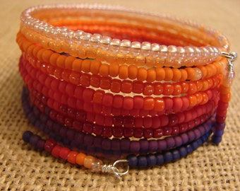 Red Ombre: 10-Coil Memory Wire Bracelet