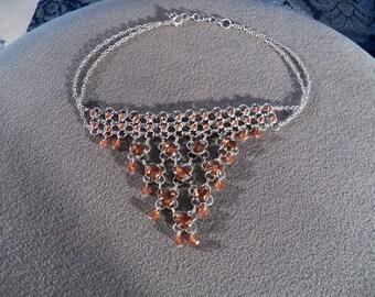 Vintage Silver Tone Amber Rhinestone Bead Detailed Bib Lavaliere Necklace Jewelry **RL