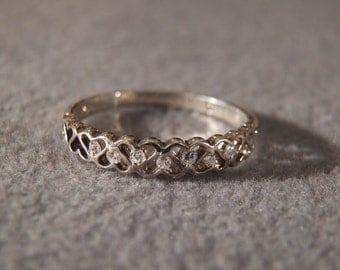 Vintage Sterling Silver and White Topaz Band Ring, Size 9 1/4    **RL