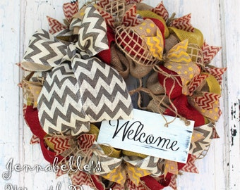 Summer Wreath, Spring Wreath, Burlap Wreath, Chevron Burlap, Shabby Chic Welcome Sign, Red, Mustard Yellow