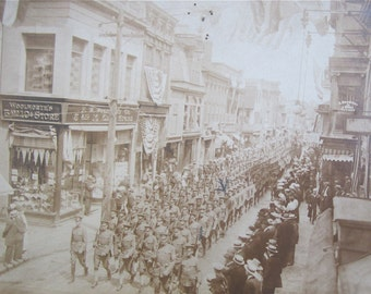 Doughboys Come Home - Original World War I Era 1918 US Army Soldiers Parade Newport Rhode Island Real Photo Postcard - Free Shipping