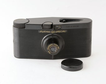 Purma Special 127 Roll Film Bakelite Camera with Leather Case Fully Working