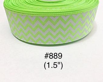 "2/3/5 yard - 1.5"" Neon Green and White Zig Zag Grosgrain Ribbon Hair bow"