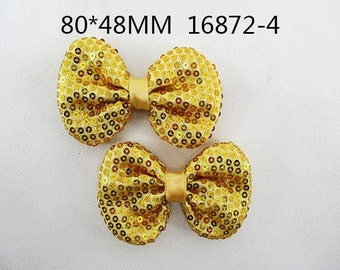 """2/3/5 pc 2"""" Yellow Gold Sequin Bow Bowknot Flat back NO CLIP"""