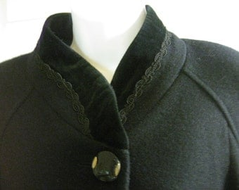 REDUCED by 10 Dollars, Beautiful  Black Vintage  Wool Coat, made by Jofeld, USA in 1987, 3/4 Cuff Sleeves, 100% Wool, Excellent Condition.