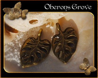 10 leaf charms bronze 12x20mm