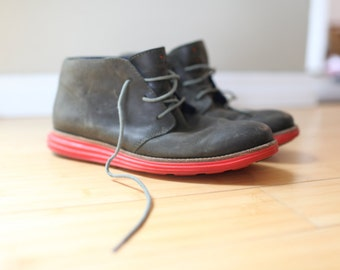 vintage cole haan green leather red sole  ankle boots mens 8 1/2
