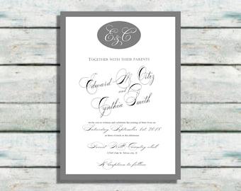 Monogram Wedding Invitations, Grey wedding invites